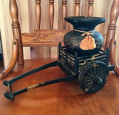 Vintage Cast Iron Japanese Rickshaw Ikebana Vase Flower Cart Japan