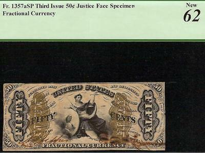 UNC 50 CENT HAND SIGNED JEFFRIES SPINNER JUSTICE FRACTIONAL NOTE Fr 1357aSP PCGS