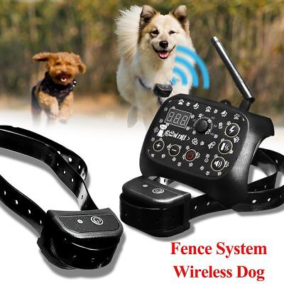 Wireless Dog Training Shock 2 Collar Fence Containment Pet Trainer Dogs System