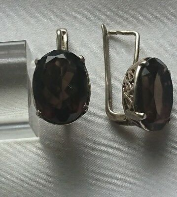 925 Sterling Silver and Smoky Quartz Earrings