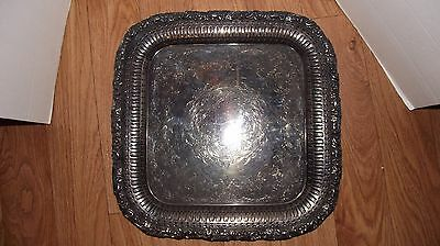 """Antique INTERNATIONAL SILVER - SILVER PLATED SERVING TRAY, 15.5"""" Square, ORNATE!"""