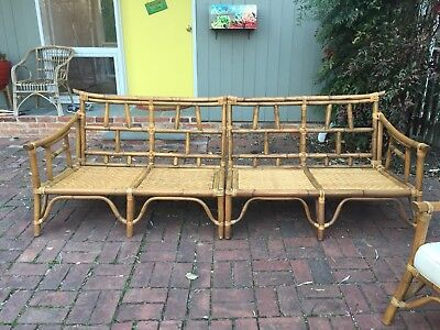 Vintage Calif Asia Bamboo Rattan Sofa And Chair