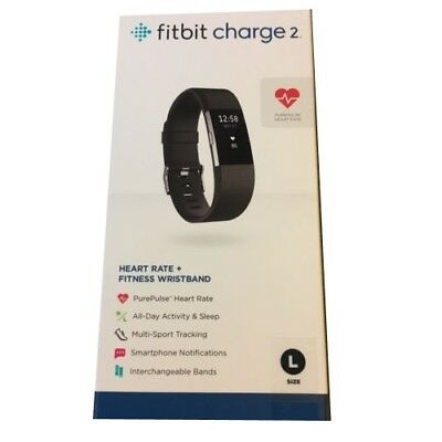 Fitbit Charge HR 2 Large Black Heart Rate Fitness Activity Tracker Wristband
