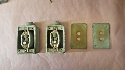 2 Vintage Push Button Light Switchs Boxes And Plates.(##17)