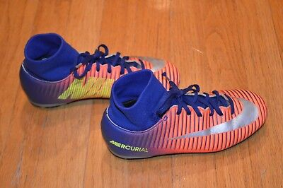 Nike Kids Mercurial Victory VI Dynamic Fit FG Orange Blue Soccer Cleats Sz  2.5