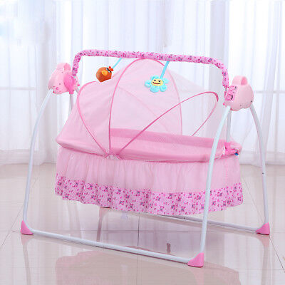 PINK Electric Baby Crib Cradle Infant Rocker Auto-Swing Sleep Bed Baby Cots NEW