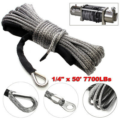 6mmx 15M 7700LBs Synthetic Winch Line Cable Rope with Sheath ATV UTV Vehicle Car