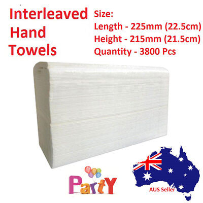 3800 Pcs 22.5cm x 21.5cm Dispenser Interleave HAND PAPER TOWEL STRONG ABSORBENT
