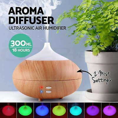 LED Ultrasonic Aroma Humidifier Essential Oil Diffuser Aromatherapy Light 300ml