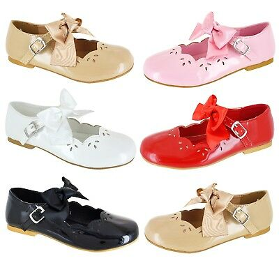 Girls Childrens Kids Low Heel Flat Dolly Pumps Strap Comfort Wedding Shoes Size