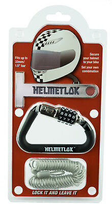 Motorcycle Helmet Combination Karabiner Lock Key Free Helmetlok T Bar & Cable