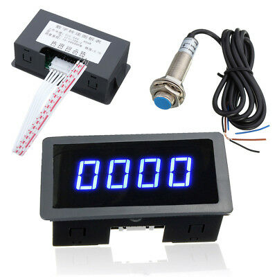4 Digital LED Blue Tachometer RPM Speed Meter + NPN Hall Proximity Switch Sensor