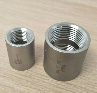 """Stainless Steel 304 Fitting 1/2"""" Inch Full Coupling Class 150 Heavy Duty"""