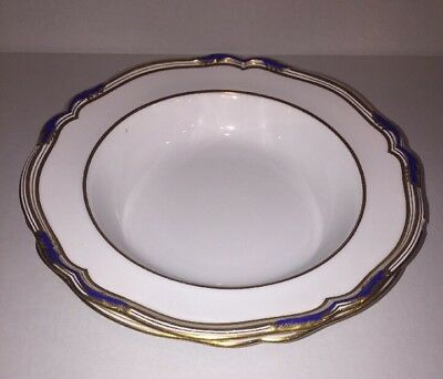Antique Spode Copeland Soup 2 Plates Bowl Gold Cobalt Blue Rim Gb1P