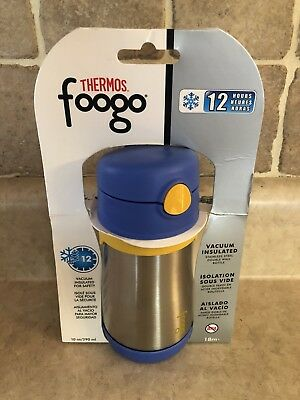 THERMOS FOOGO Vacuum Insulated Stainless Steel 10-Ounce Straw Bottle, Blue/Yell