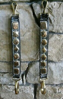 Genuine Pair Of Mid-Victorian Brass Studded Side Straps On Original Leather