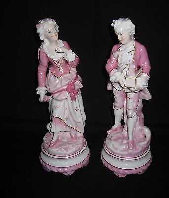 Antique 19th Century High Quality French Bisque Figurines of a Gentleman & Lady