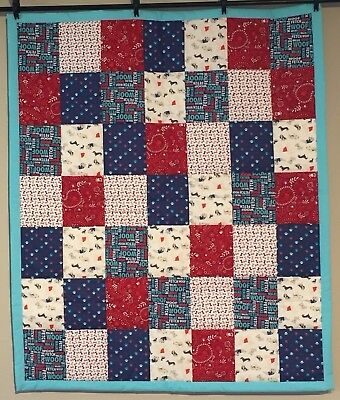 Baby Quilt Boys Girls Dogs Puppies Paw Prints Bones Handmade Cotton Blue Red NEW