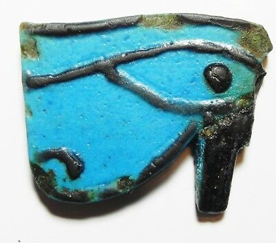 ZURQIEH - as3388- ANCIENT EGYPT. FAIENCE EYE OF HORUS AMULET. 600 - 300 B.C