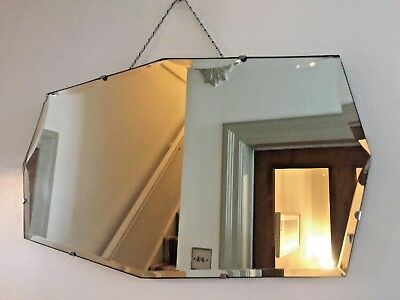 Vintage Frameless Mirror Scalloped Bevelled Edge Art Deco Scandi Chain 55x32cm