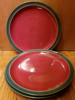 Denby England HARLEQUIN Set of 3 Dinner Plates 10 1/4  Red face Green & DENBY ENGLAND DAYBREAK Set of 4 Dinner Plates 10