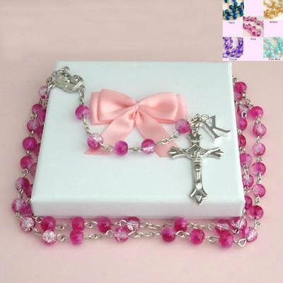 Personalised Rosaries with Any Letter / Initial, Girls Rosary Beads. Boys, Girls