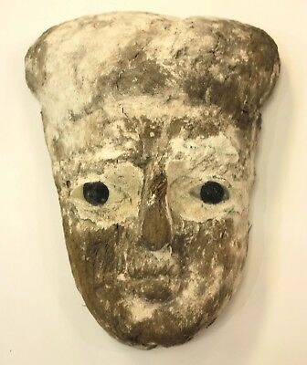 Ancient Egyptian Mummy Wood Mask with inlaid eyes c.635 BC.