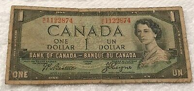 Canada 1 Dollar. 1954 Currency Note.