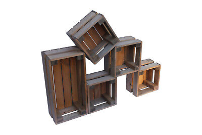 Set Of 5 Small Wooden Crates Handmade Different Colours
