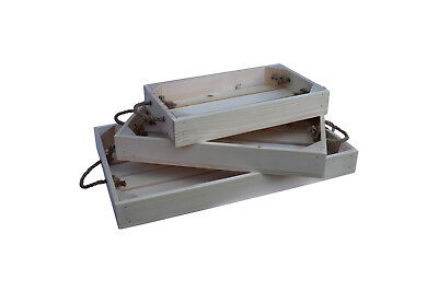 Wooden Tray With Rope Handles Apple Crate Style 3 Sizes Natural Finish