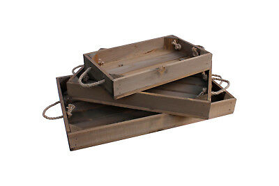 Wooden Tray With Rope Handles Apple Crate Style 3 Sizes Vintage Brown Finish