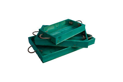 Wooden Tray With Rope Handles Apple Crate Style 3 Sizes Easter Green Finish