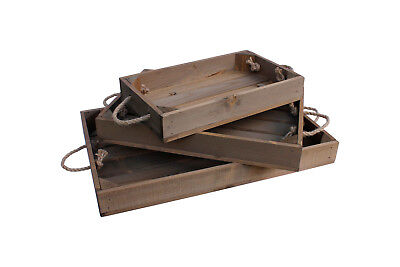 Wooden Tray With Rope Handles Apple Crate Style 3 Sizes And 3 Colours