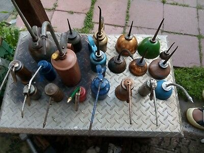 lot of 20 Vintage Thumb Pump Oil Cans eagle and others.