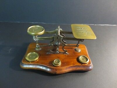 Antique postal scale nice original condition with weights John Heath