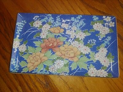Vintage Blue Floral Takahashi Hand Decorated  ECHO 1980 Porcelain Tray 4 1/2 X 7