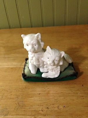 Vintage Antique Collectible Kittens on Cushion