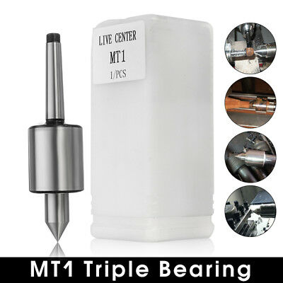 "MT1 Live Center Precision 0.0003"" Morse Taper Triple Bearing Lathe Medium Duty"