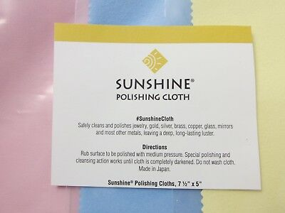 3 Sunshine Polishing Cloths Yellow Blue & Satin Pink Jewelry Cleaner Silver Gold