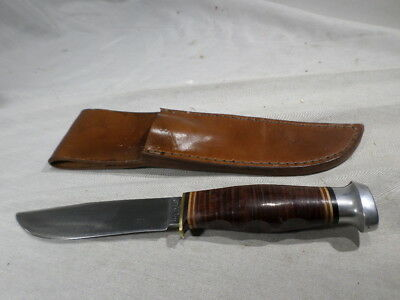 w Kabar Stacked Leather Handle Fixed Blade Knife