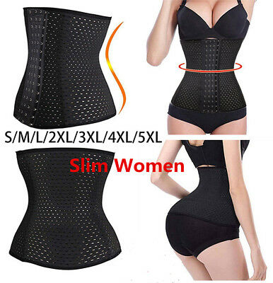 Women Underbust Corset Waist Trainer Body Shaper Control Cincher BLACK M TOP+++