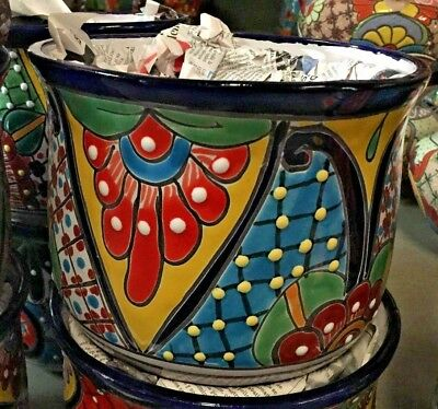 Talavera Mexican Pottery Curved Set Of 3 Planters Colorful