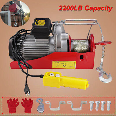 2200LBS Mini Electric Wire Cable Hoist Overhead Crane Lift Remote Control Garage