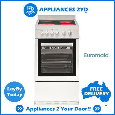 Euromaid CW50 50cm Tiny Home Upright Cooker Stove Electric Oven Ceramic Cooktop