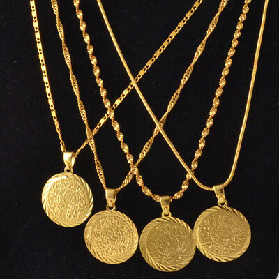 Sparking 18K Gold Filled Necklace &Coin Shape Pendant Engagement Jewelry
