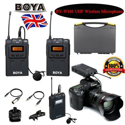 BOYA BY-WM6 UHF Omni-Directional Lavalier Wireless Microphone fr DSLR Canon Sony
