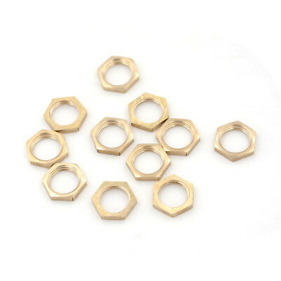 """10PCS 1/4"""" BSP Female Thread Brass Hex Lock Nuts Pipe Fitting GY"""