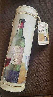 New Decorative Wine Bottle Box Tube Cylinder Gift Carrier Holder w/Gift Card