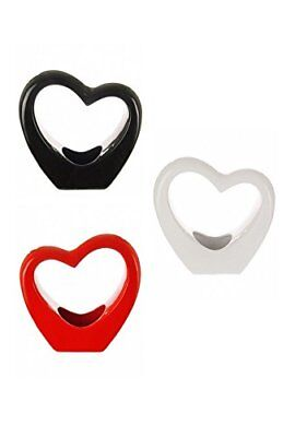 Modern Small or Large Heart Shaped Glossy Porcelain Vase in Red Black or White