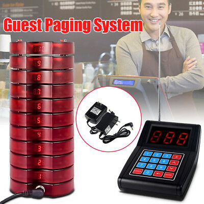 US Restaurant Wireless Paging Queuing Pager Guest Calling System+10 Call Coaster